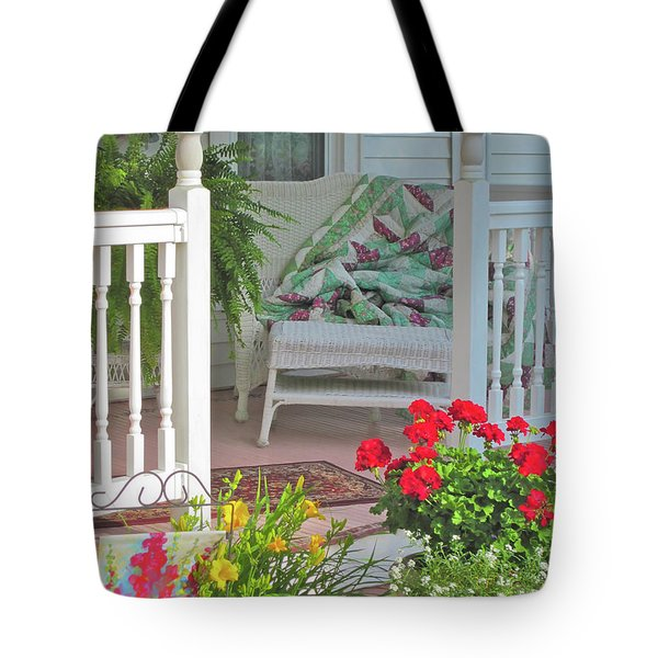 Tote Bag featuring the photograph Peaceful Porch In A Small Town by Nancy Lee Moran
