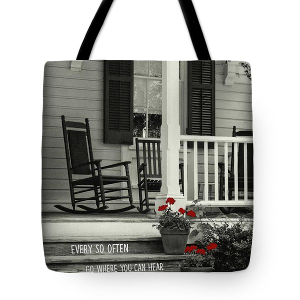 Peaceful Quote Tote Bag by JAMART Photography