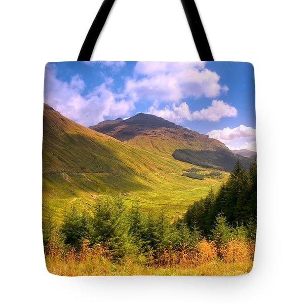 Peaceful Sunny Day In Mountains. Rest And Be Thankful. Scotland Tote Bag