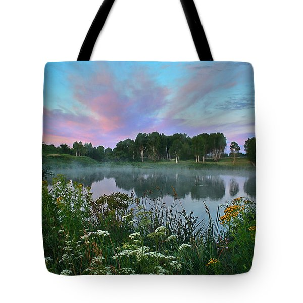 Peaceful Sunrise At Lake. Altai Tote Bag