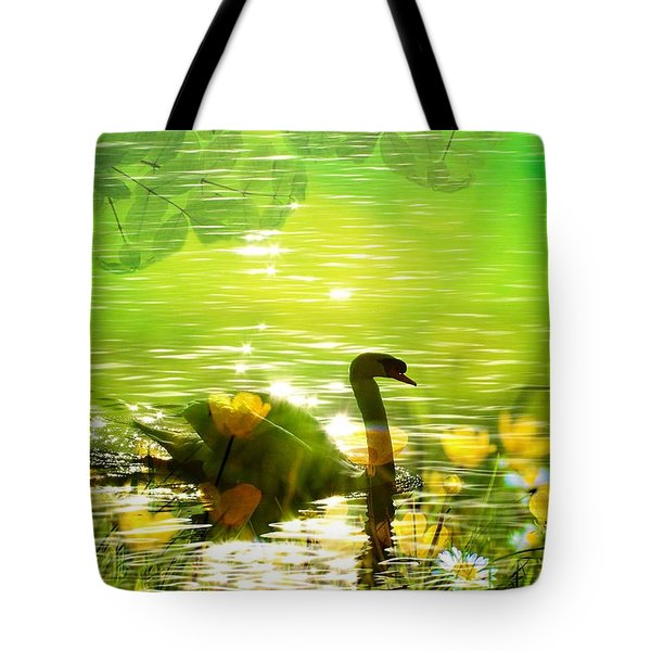 Peaceful Swan In Lake With Flowers Tote Bag