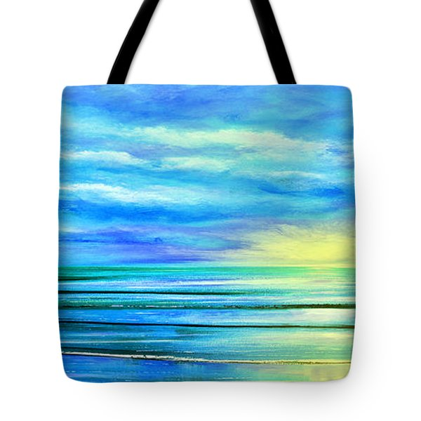 Peacefully Blue - Panoramic Sunset Tote Bag