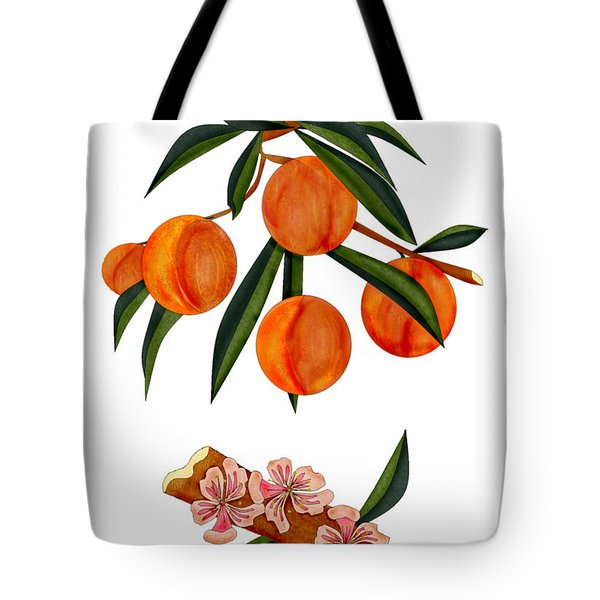 Peach And Peach Blossoms Tote Bag by Anne Norskog