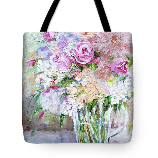 Tote Bag featuring the painting Peach And Pink Bouquet by Jennifer Beaudet