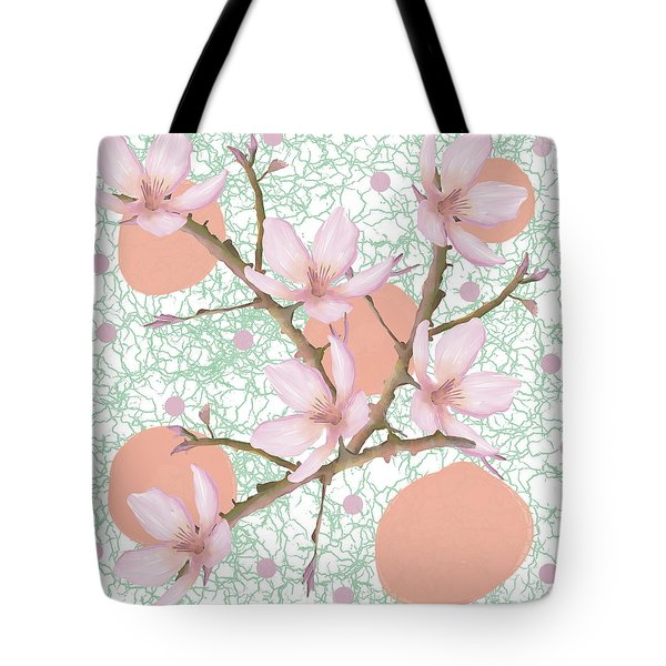 Peach Blossom Pattern Tote Bag