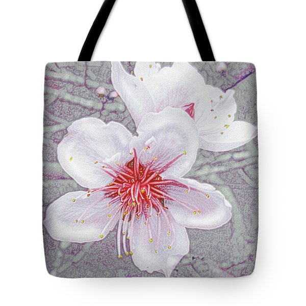 Tote Bag featuring the digital art Peach Blossoms by Jane Schnetlage