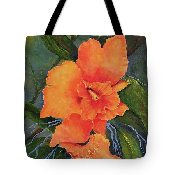 Peach  Blush Orchid Tote Bag