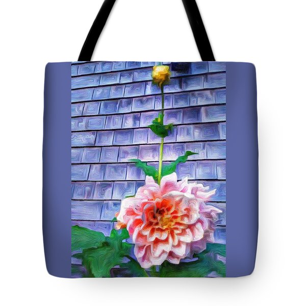 Peach Dahlia In Oil Tote Bag