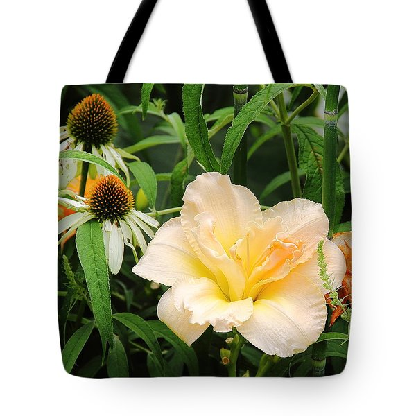 Peach Day Lily Tote Bag