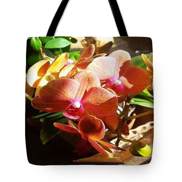 Peach Orchid Blossoms Tote Bag