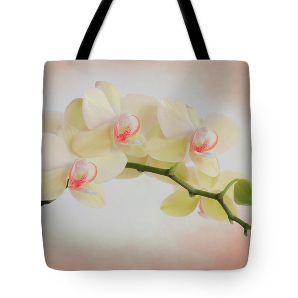 Peach Orchid Spray Tote Bag