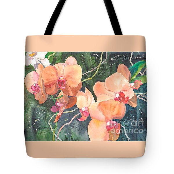 Peach Orchids Tote Bag