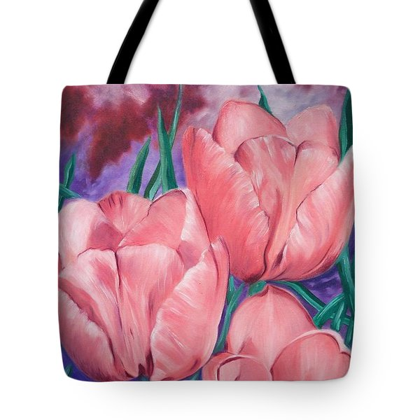 Peach Pink Tulips Tote Bag