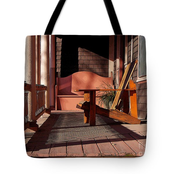 Peach Porch Tote Bag by Betsy Zimmerli