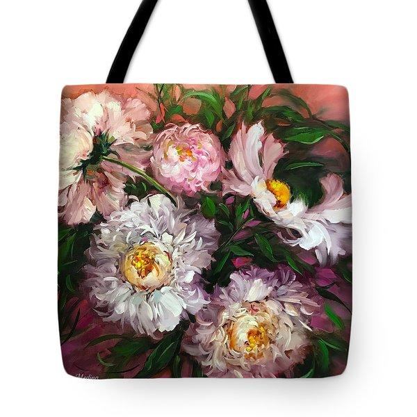 Peach Sorbet Peonies Tote Bag