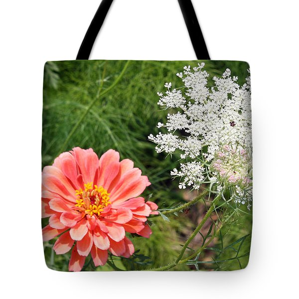 Tote Bag featuring the photograph Peach Zinnia And Queen Anne's Lace by Ellen Tully