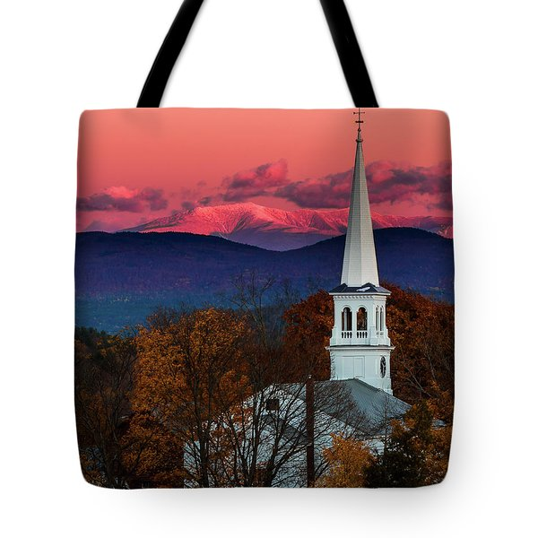 Peacham And White Mtn Sunset Tote Bag