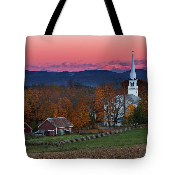 Peacham Village Fall Evening Tote Bag