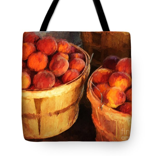 Peaches By The Bushel  Tote Bag by Clare VanderVeen