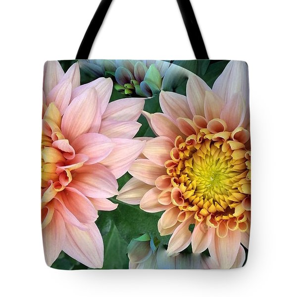 Peachy Chrysanthemums Tote Bag