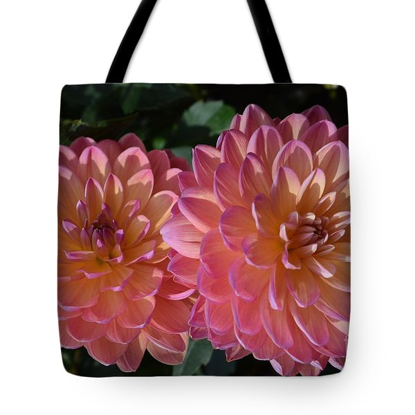 Peachy Dahlias Tote Bag