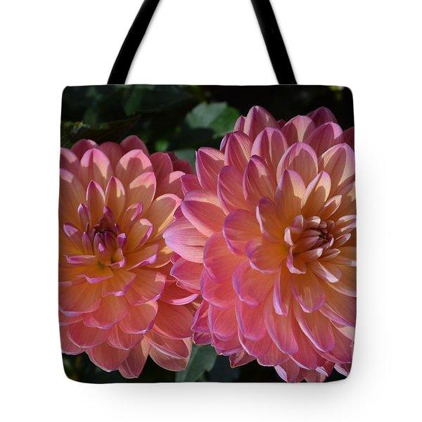 Peachy Dahlias Tote Bag