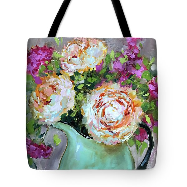 Peachy Darlings Pink Peonies And Carnations Tote Bag