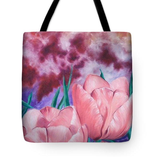 Tote Bag featuring the painting Peachypink Tulips by Sigrid Tune