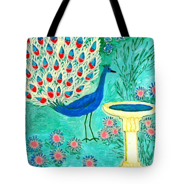Peacock And Birdbath Tote Bag by Sushila Burgess