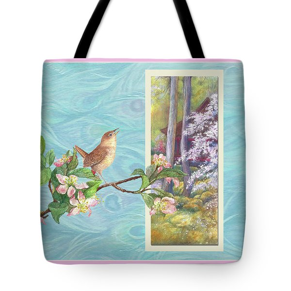Tote Bag featuring the painting Peacock And Cherry Blossom With Wren by Judith Cheng