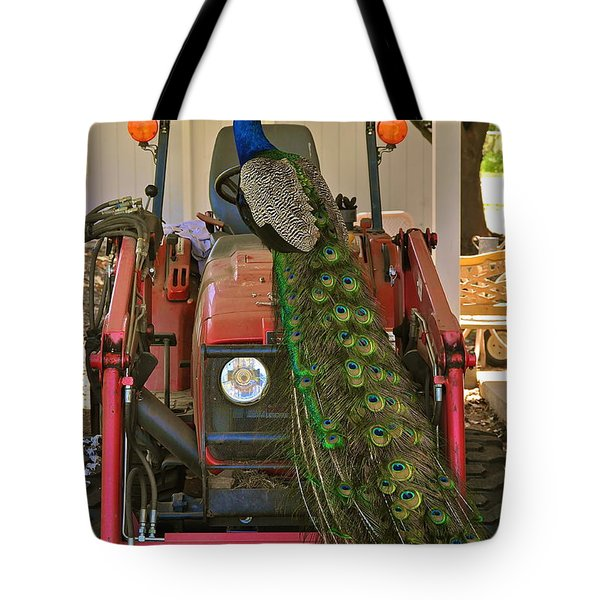 Peacock And His Ride Tote Bag