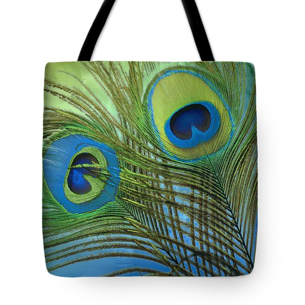 Peacock Candy Blue And Green Tote Bag by Mindy Sommers