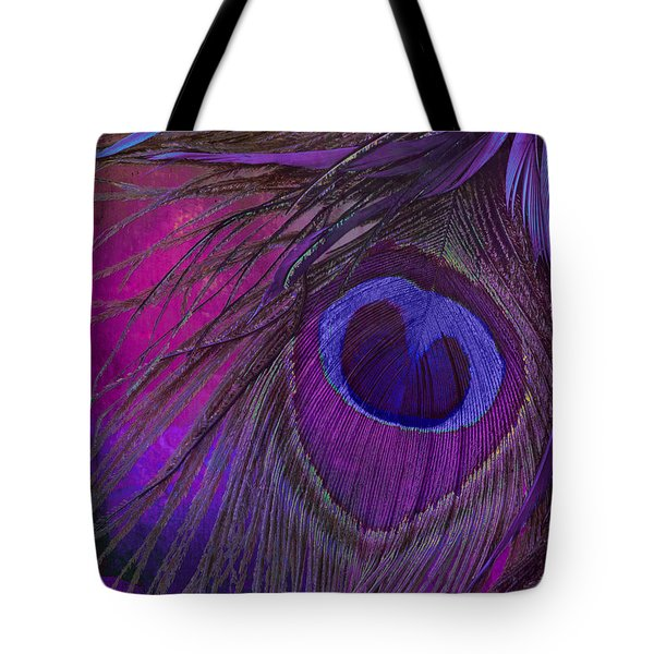 Peacock Candy Purple  Tote Bag by Mindy Sommers
