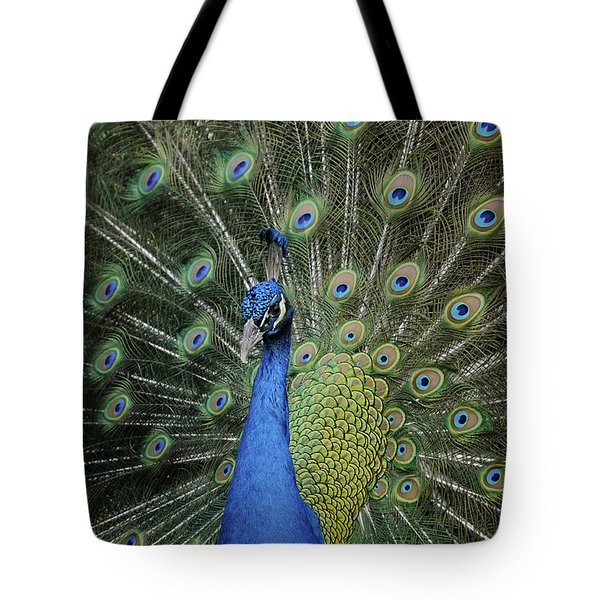 Tote Bag featuring the photograph Peacock Displaying Closeup by Bradford Martin