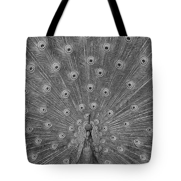 Peacock Fanfare - Black And White Tote Bag by Diane Alexander