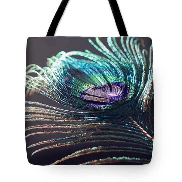 Peacock Feather In Sun Light Tote Bag
