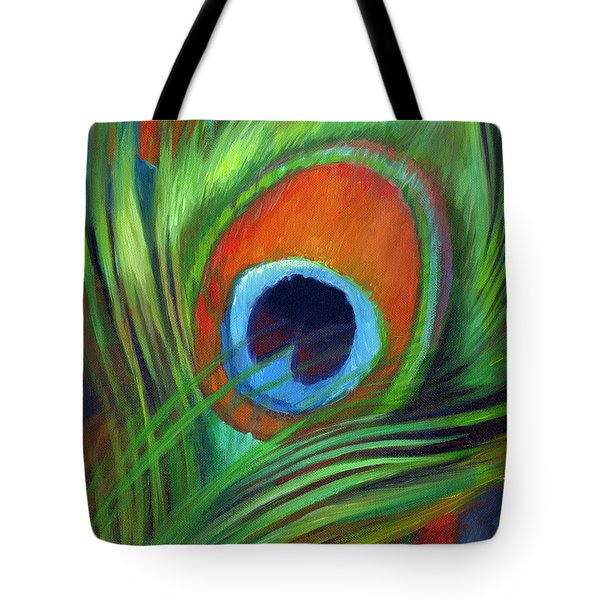 Tote Bag featuring the painting Peacock Feather by Nancy Tilles