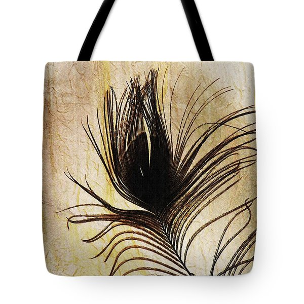 Peacock Feather Silhouette Tote Bag by Sarah Loft