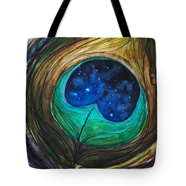 Peacock Feather Tote Bag by Tara Thelen
