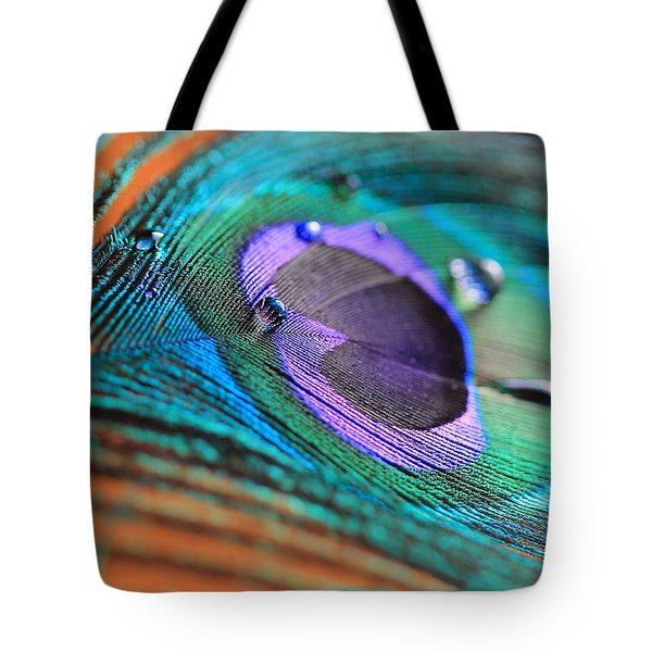 Peacock Feather With Water Drops Tote Bag