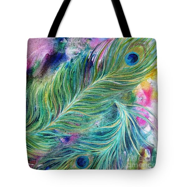 Peacock Feathers Bright Tote Bag by Denise Hoag