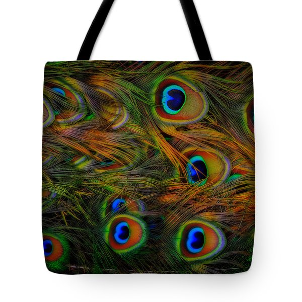 Tote Bag featuring the photograph Peacock Feathers by Harry Spitz