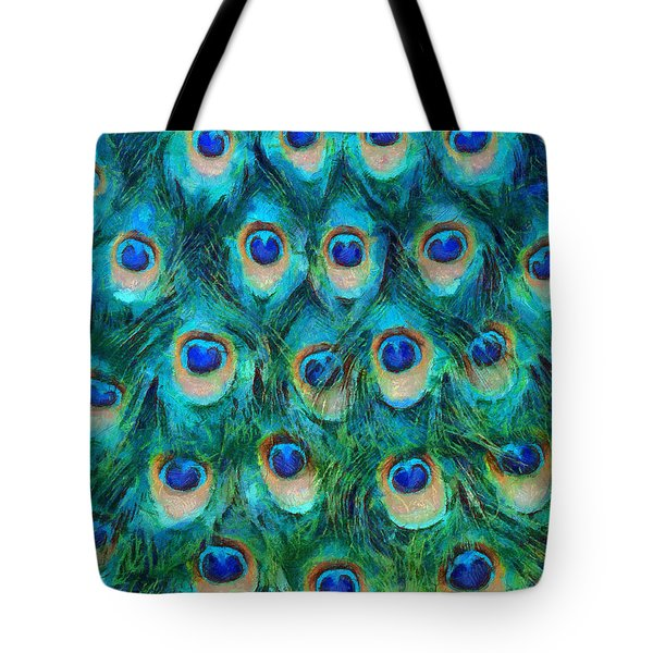 Peacock Feathers Tote Bag by Nikki Marie Smith