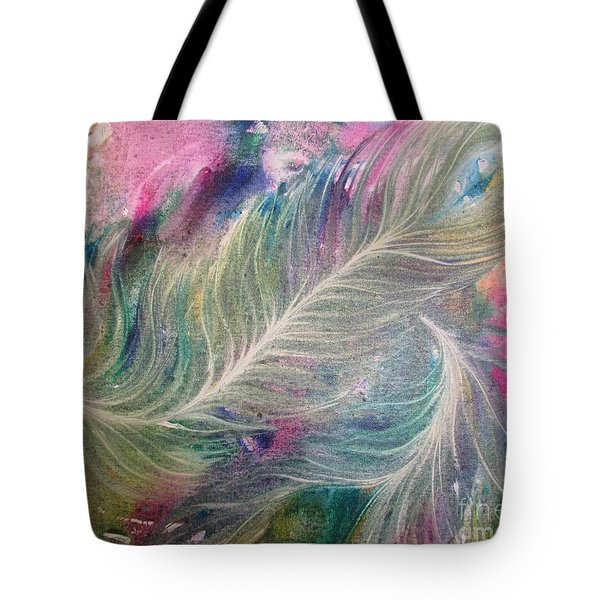Peacock Feathers Pastel Tote Bag by Denise Hoag