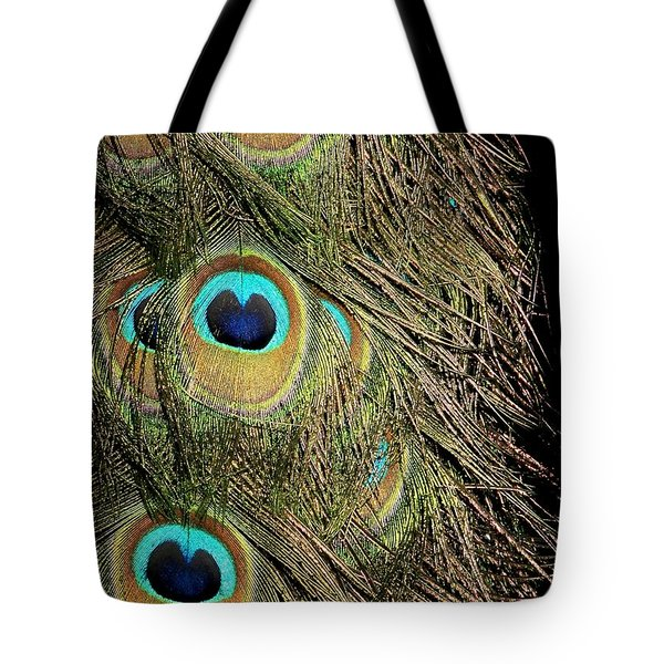 Peacock Feathers Tote Bag by Sabrina L Ryan