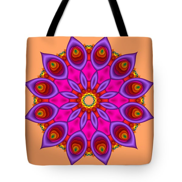 Peacock Fractal Flower II Tote Bag