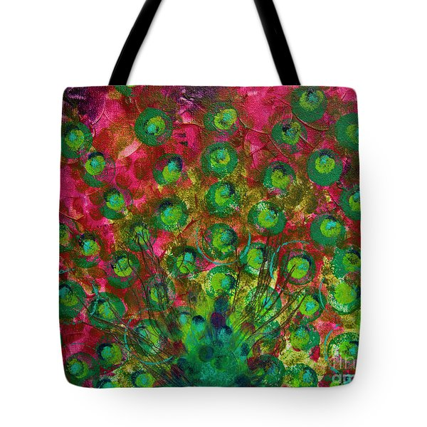 Peacock Impressions Tote Bag by Jeanette French