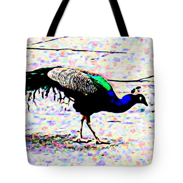 Peacock In Abstract Tote Bag