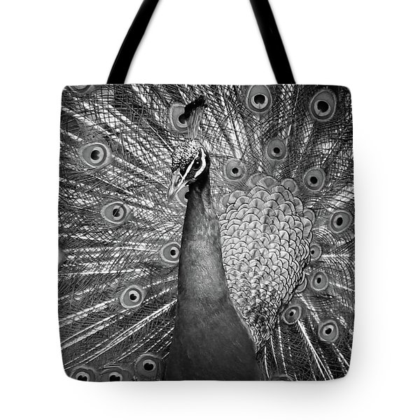 Tote Bag featuring the photograph Peacock In Black And White by T A Davies