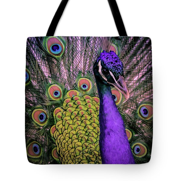 Tote Bag featuring the photograph Peacock In Purple 2 by T A Davies